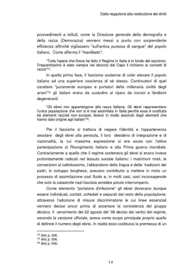 Anteprima della tesi: Il reinserimento dei perseguitati razziali nel secondo dopoguerra. L'itinerario della legge n. 96 del 10 marzo 1955, Pagina 10
