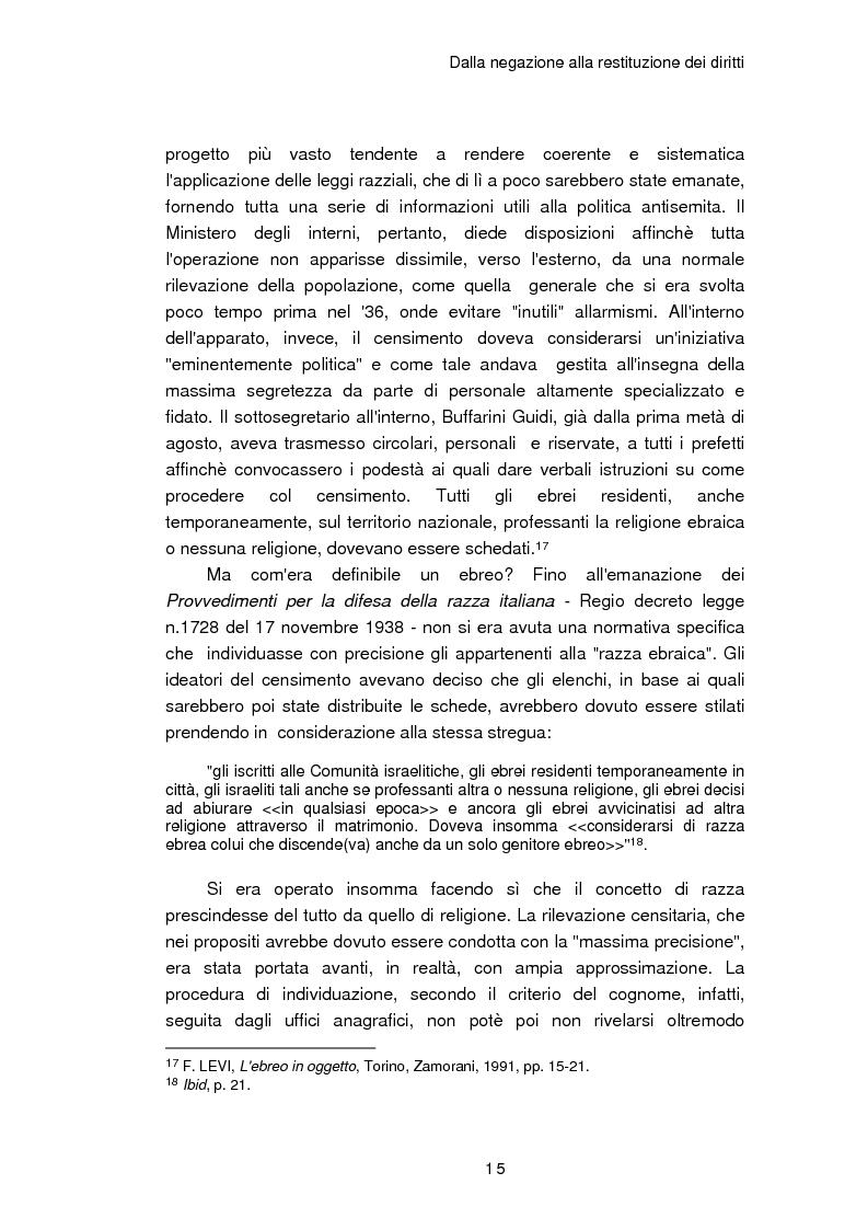 Anteprima della tesi: Il reinserimento dei perseguitati razziali nel secondo dopoguerra. L'itinerario della legge n. 96 del 10 marzo 1955, Pagina 11