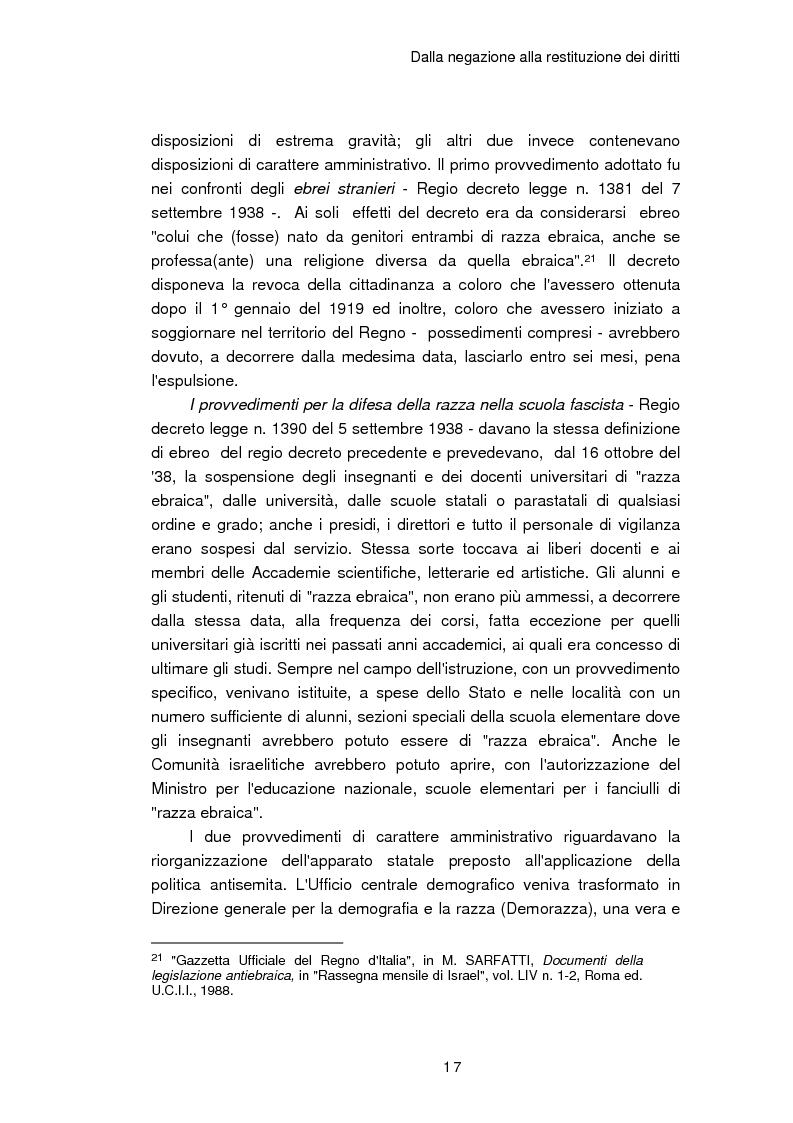 Anteprima della tesi: Il reinserimento dei perseguitati razziali nel secondo dopoguerra. L'itinerario della legge n. 96 del 10 marzo 1955, Pagina 13