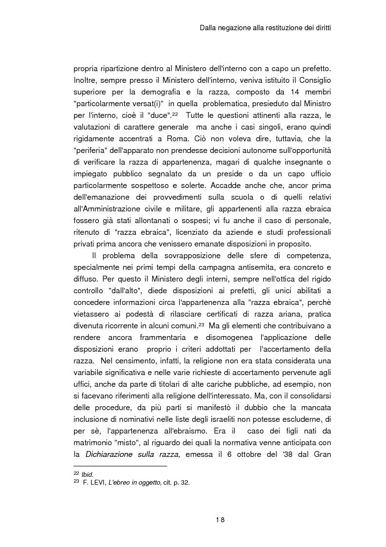 Anteprima della tesi: Il reinserimento dei perseguitati razziali nel secondo dopoguerra. L'itinerario della legge n. 96 del 10 marzo 1955, Pagina 14