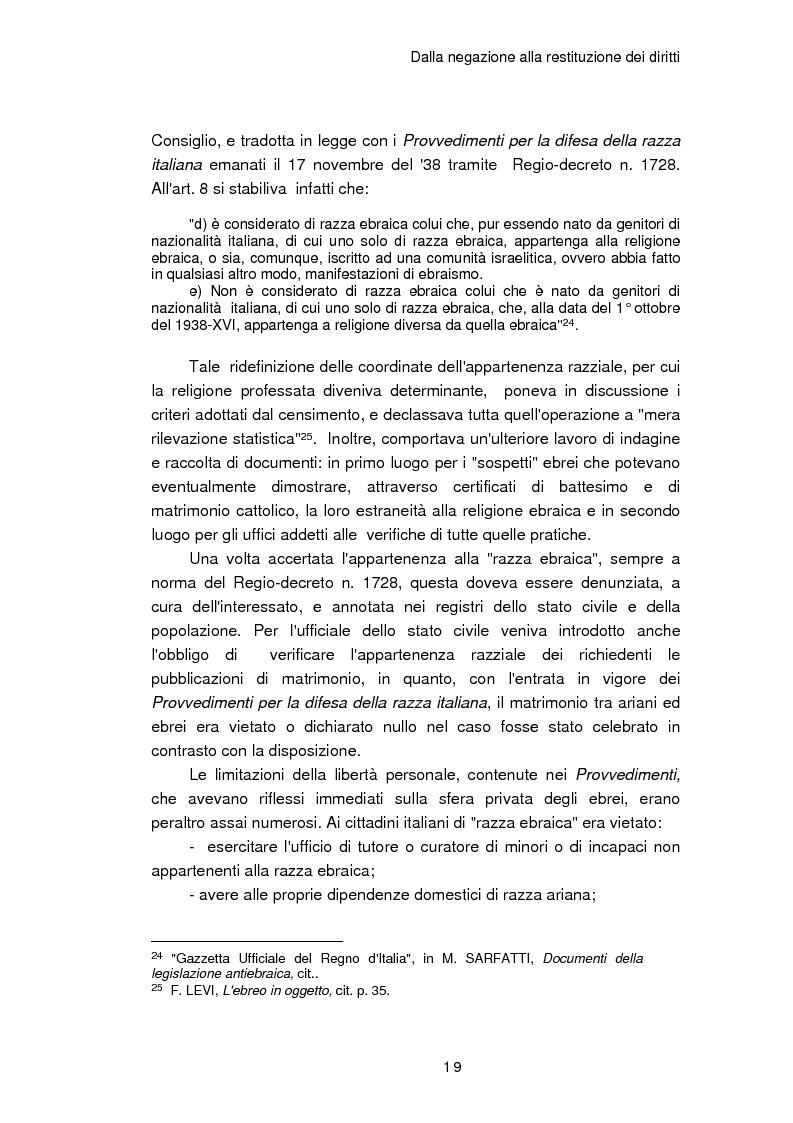 Anteprima della tesi: Il reinserimento dei perseguitati razziali nel secondo dopoguerra. L'itinerario della legge n. 96 del 10 marzo 1955, Pagina 15
