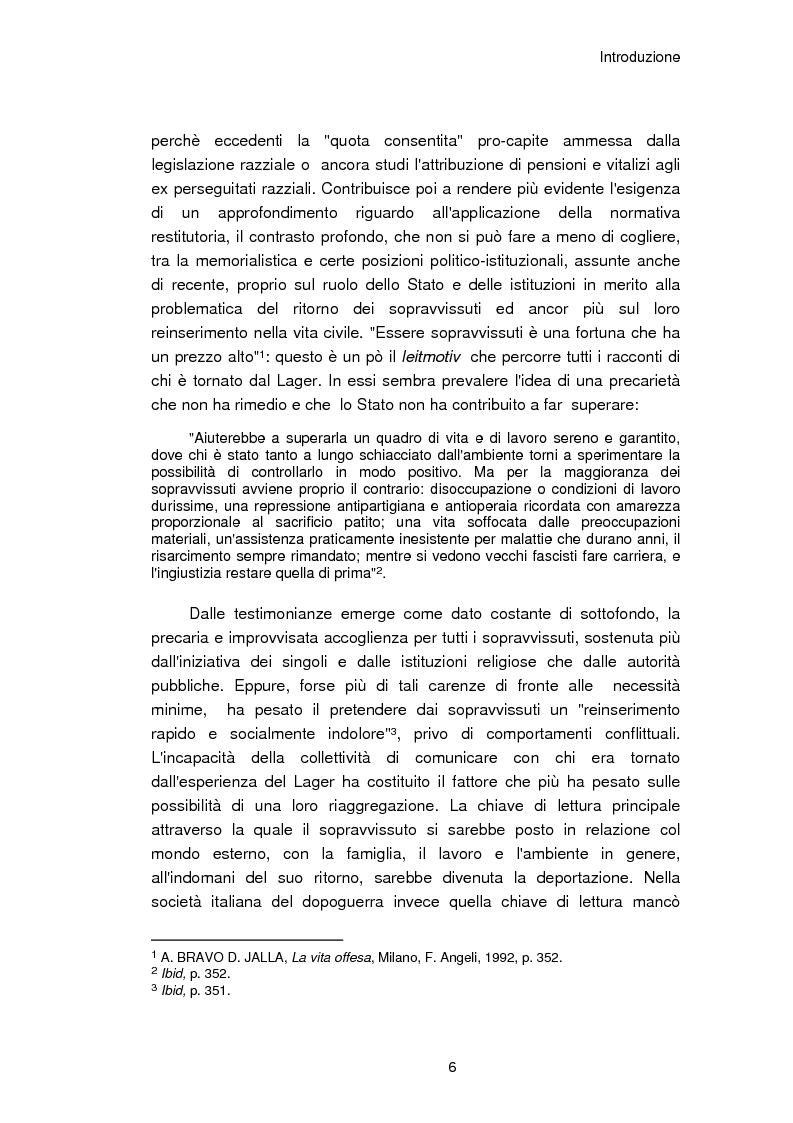 Anteprima della tesi: Il reinserimento dei perseguitati razziali nel secondo dopoguerra. L'itinerario della legge n. 96 del 10 marzo 1955, Pagina 2