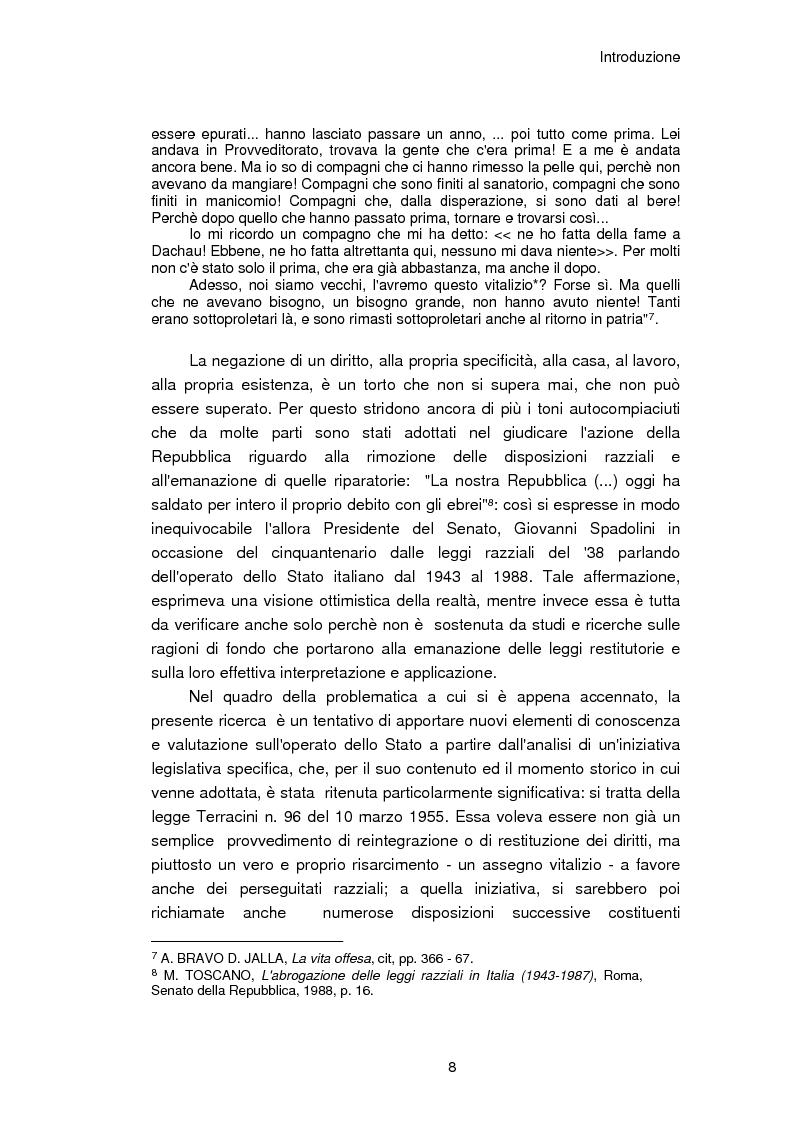 Anteprima della tesi: Il reinserimento dei perseguitati razziali nel secondo dopoguerra. L'itinerario della legge n. 96 del 10 marzo 1955, Pagina 4