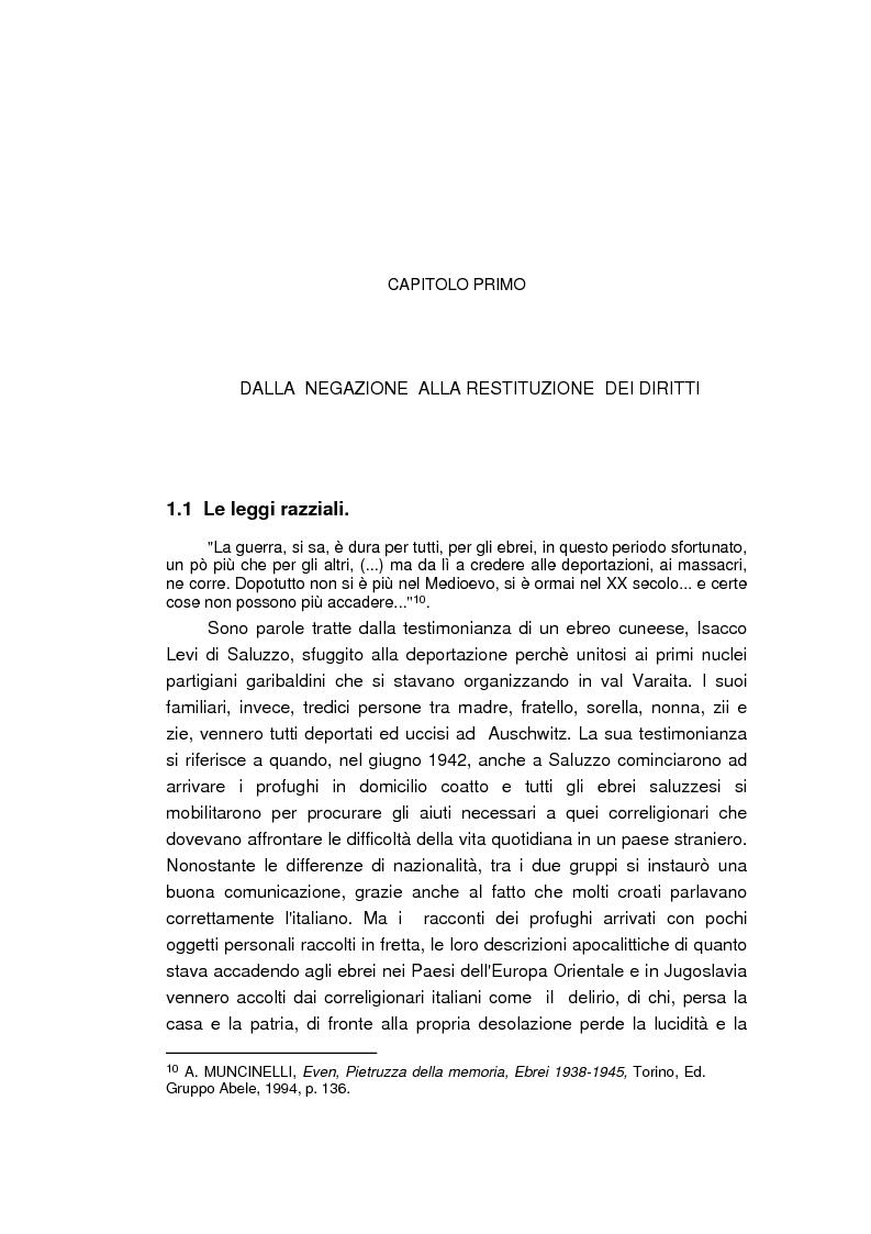 Anteprima della tesi: Il reinserimento dei perseguitati razziali nel secondo dopoguerra. L'itinerario della legge n. 96 del 10 marzo 1955, Pagina 8