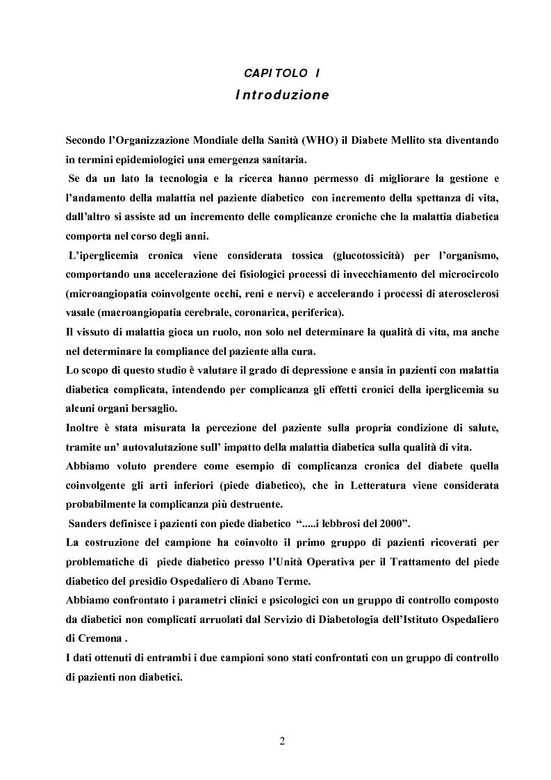 Anteprima della tesi: Psicopatologia di cronicità: vissuto emotivo di malattia cronica in pazienti diabetici complicati arti inferiori, Pagina 1