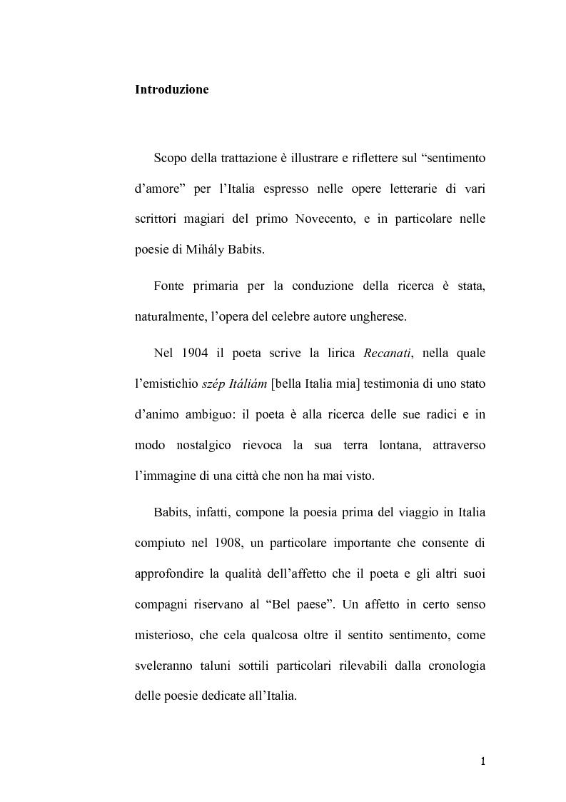 Anteprima della tesi: L'Immagine dell'Italia nella poesia ungherese del primo Novecento, Pagina 1