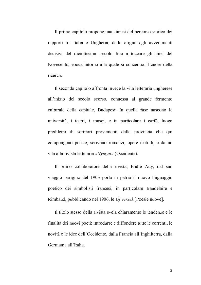 Anteprima della tesi: L'Immagine dell'Italia nella poesia ungherese del primo Novecento, Pagina 2