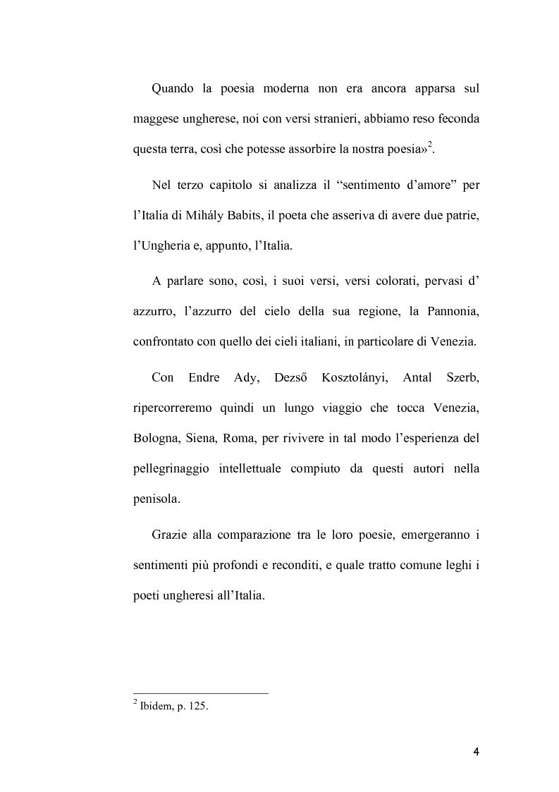 Anteprima della tesi: L'Immagine dell'Italia nella poesia ungherese del primo Novecento, Pagina 4