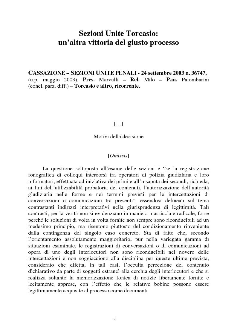 Anteprima della tesi: Sezioni unite Torcasio un'altra vittoria del giusto processo, Pagina 1