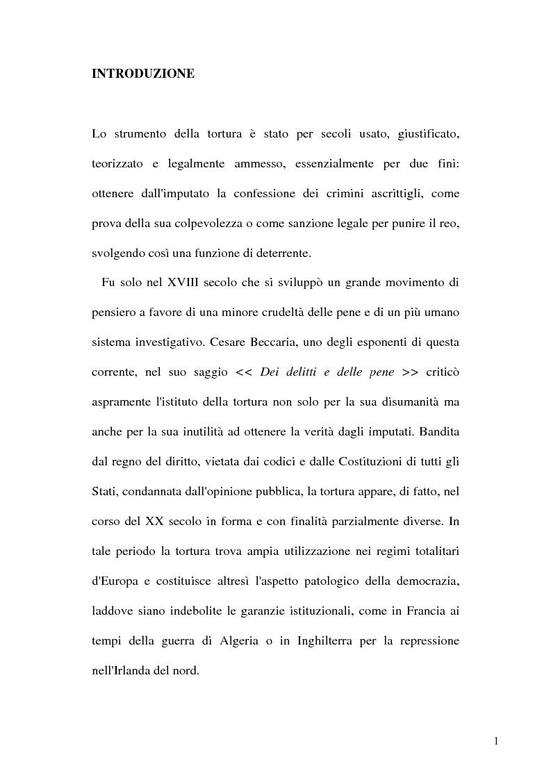 Anteprima della tesi: Tortura e Punizioni o Trattamenti crudeli, inumani e degradanti, Pagina 1