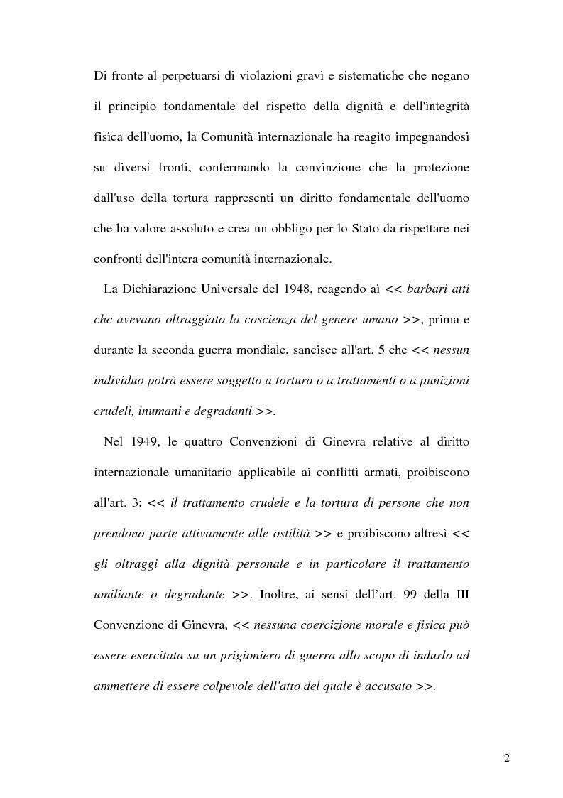 Anteprima della tesi: Tortura e Punizioni o Trattamenti crudeli, inumani e degradanti, Pagina 2