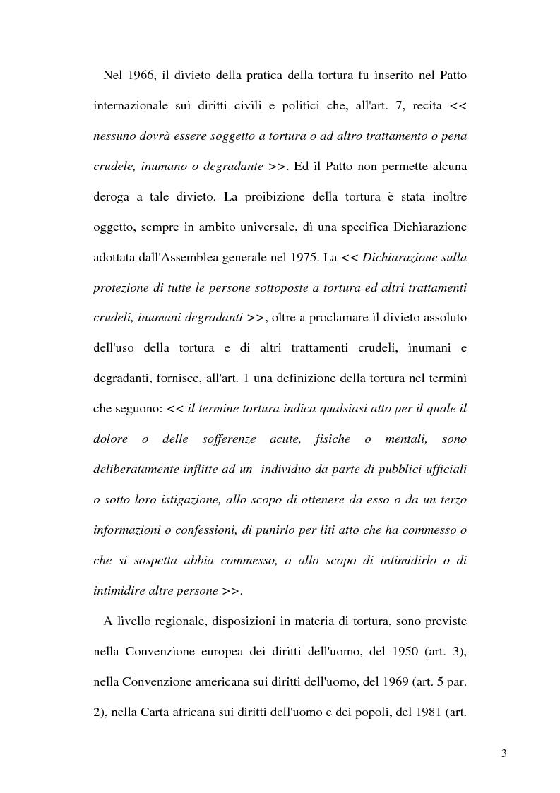 Anteprima della tesi: Tortura e Punizioni o Trattamenti crudeli, inumani e degradanti, Pagina 3