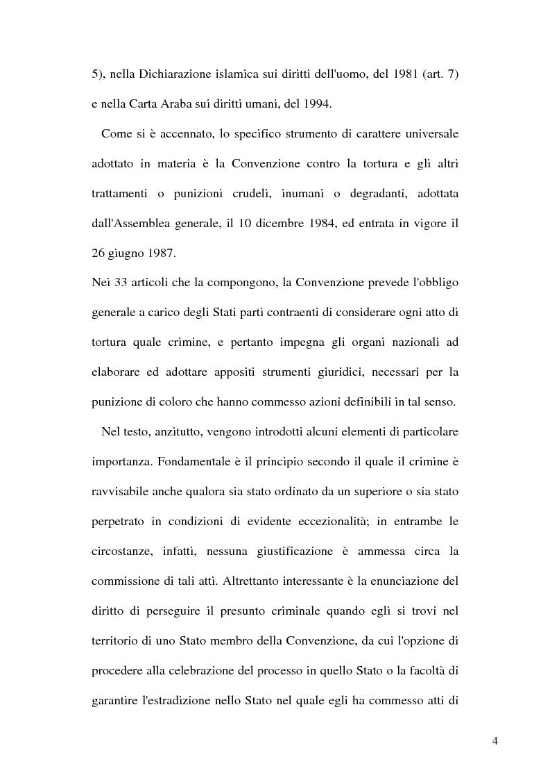 Anteprima della tesi: Tortura e Punizioni o Trattamenti crudeli, inumani e degradanti, Pagina 4