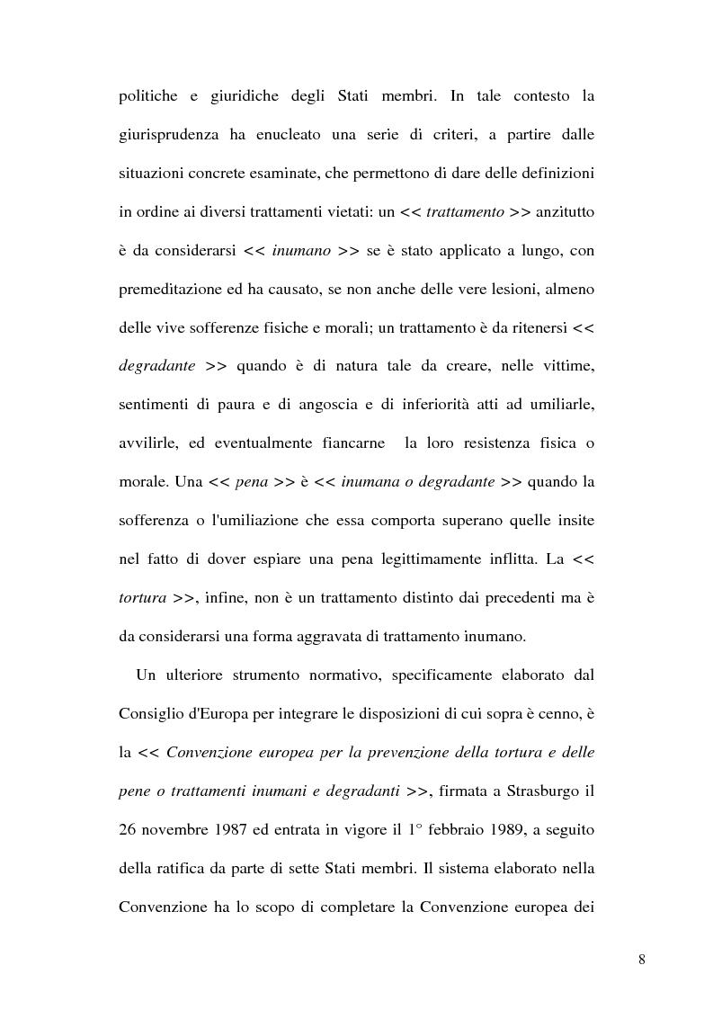 Anteprima della tesi: Tortura e Punizioni o Trattamenti crudeli, inumani e degradanti, Pagina 8