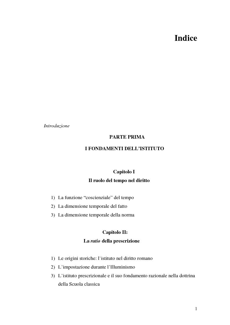 Indice della tesi: La prescrizione del reato, Pagina 1