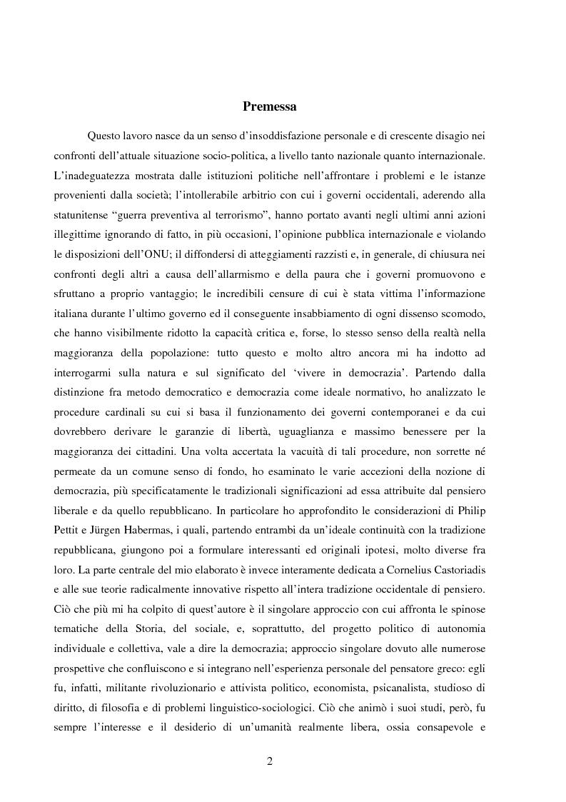 Anteprima della tesi: Per una democrazia radicale: da metodo a ideale normativo, Pagina 1