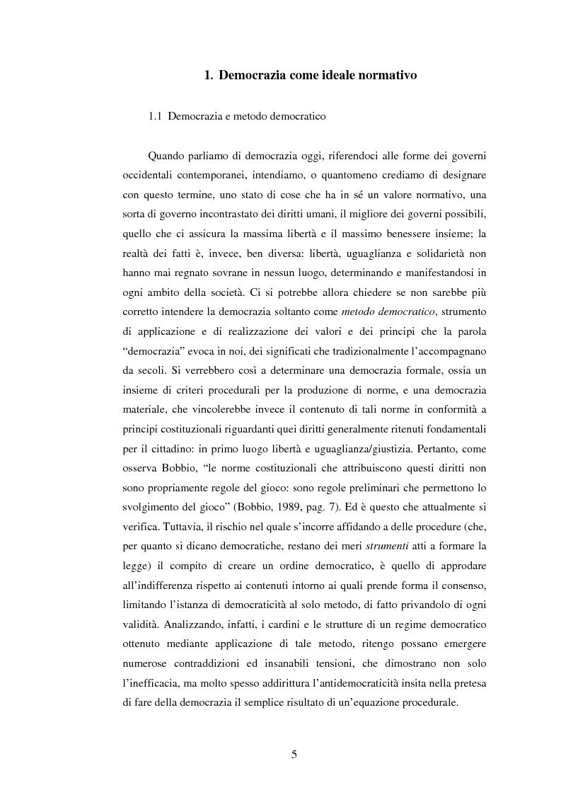 Anteprima della tesi: Per una democrazia radicale: da metodo a ideale normativo, Pagina 4