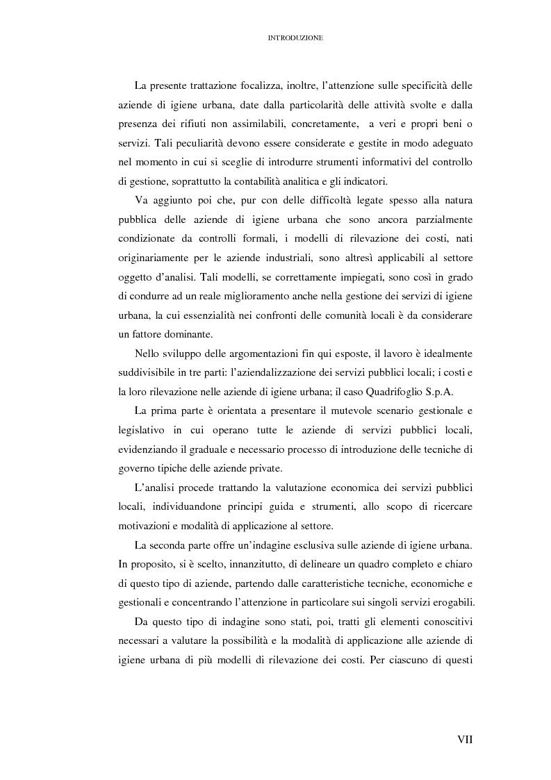Anteprima della tesi: Le rilevazioni di costo nelle aziende di igiene urbana. Il caso Quadrifoglio S.p.A., Pagina 1