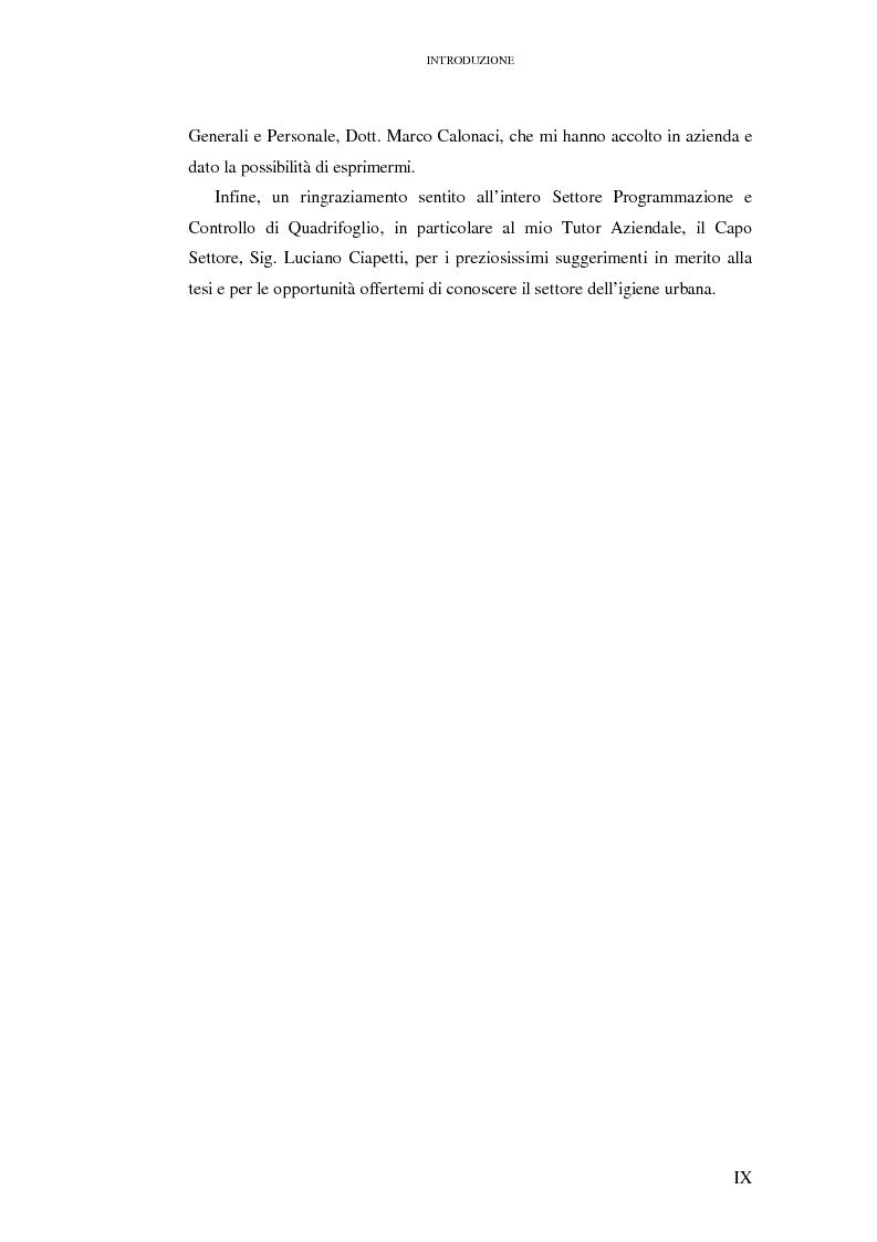Anteprima della tesi: Le rilevazioni di costo nelle aziende di igiene urbana. Il caso Quadrifoglio S.p.A., Pagina 3