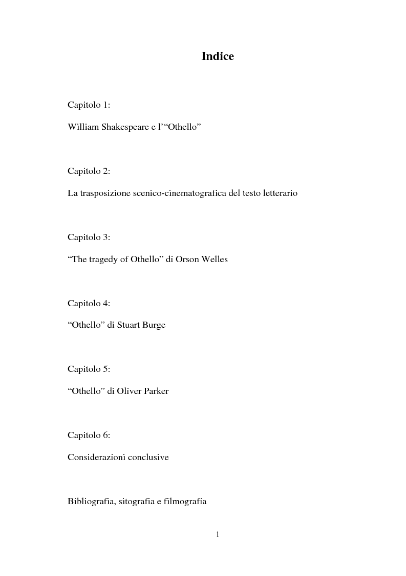 Indice della tesi: ''Othello'': dal testo shakespeariano all'immagine cinematografica, Pagina 1