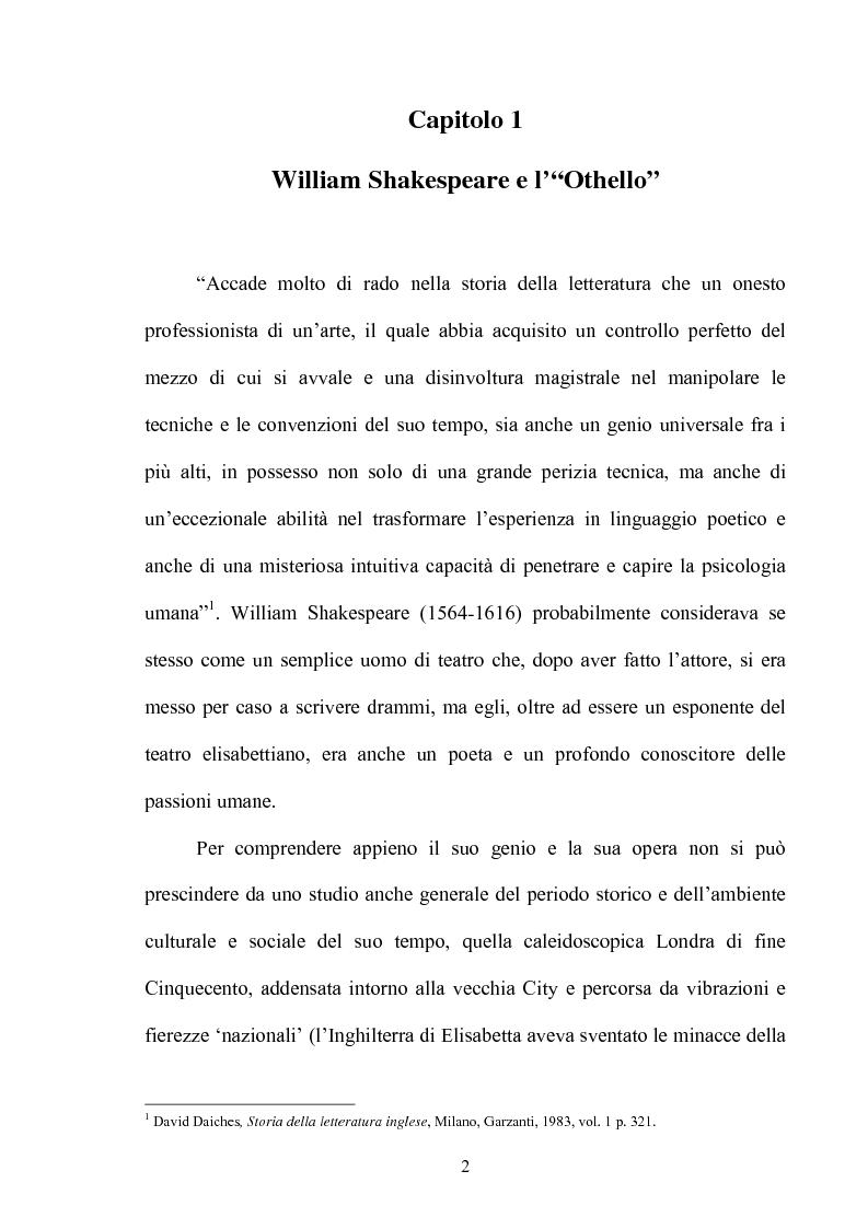 Anteprima della tesi: ''Othello'': dal testo shakespeariano all'immagine cinematografica, Pagina 1