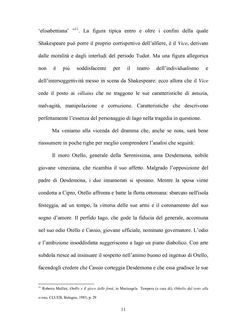 Anteprima della tesi: ''Othello'': dal testo shakespeariano all'immagine cinematografica, Pagina 10