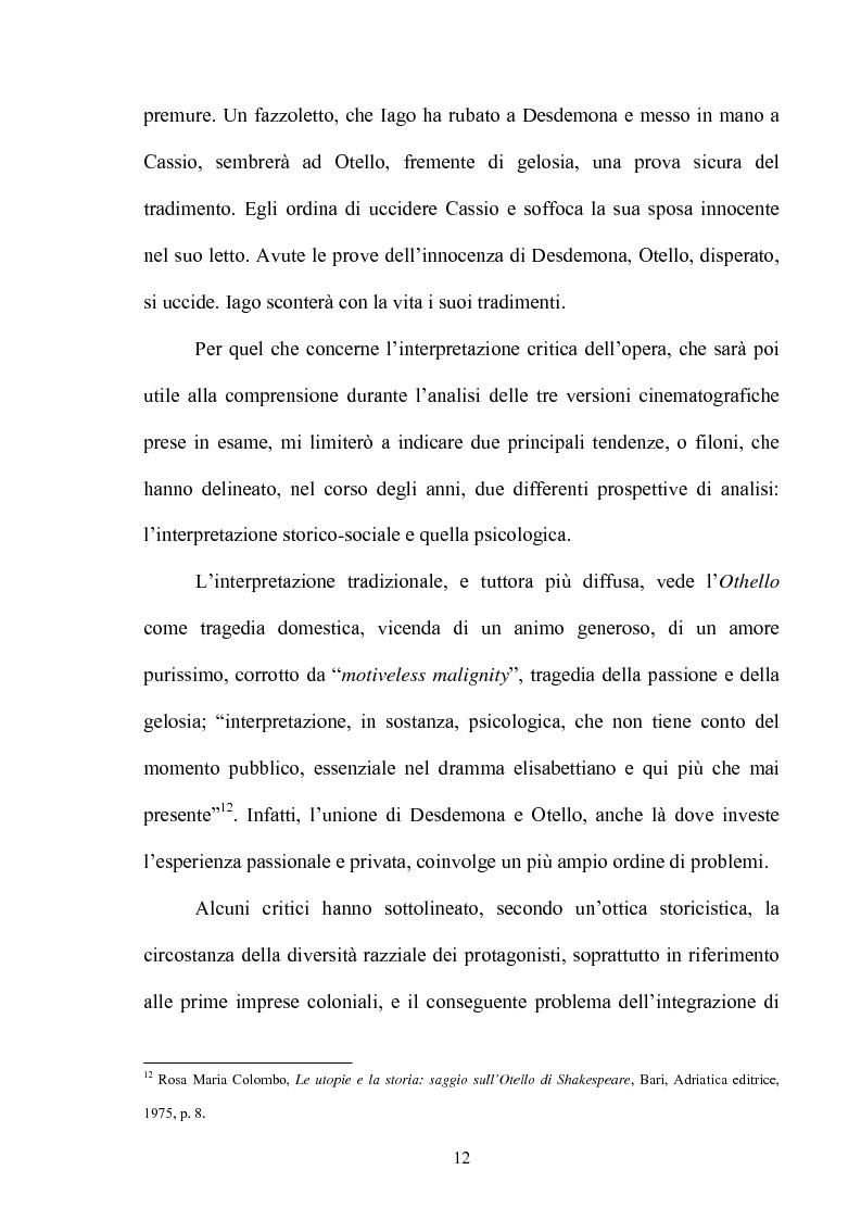 Anteprima della tesi: ''Othello'': dal testo shakespeariano all'immagine cinematografica, Pagina 11