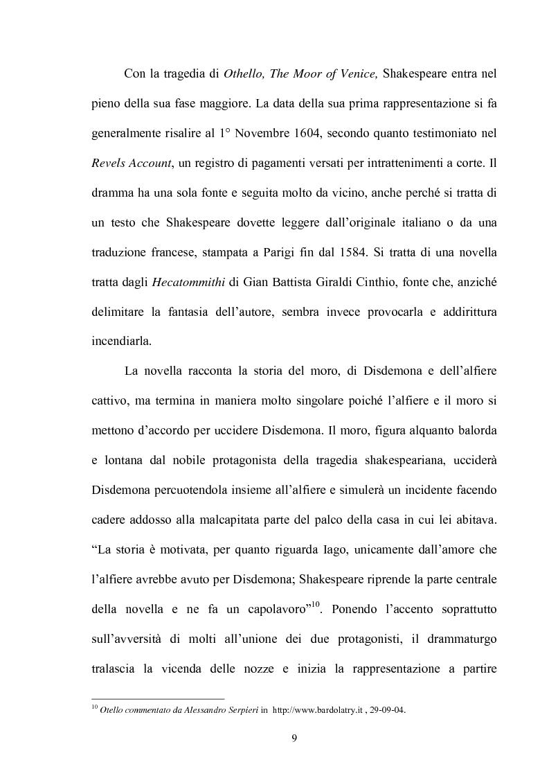 Anteprima della tesi: ''Othello'': dal testo shakespeariano all'immagine cinematografica, Pagina 8