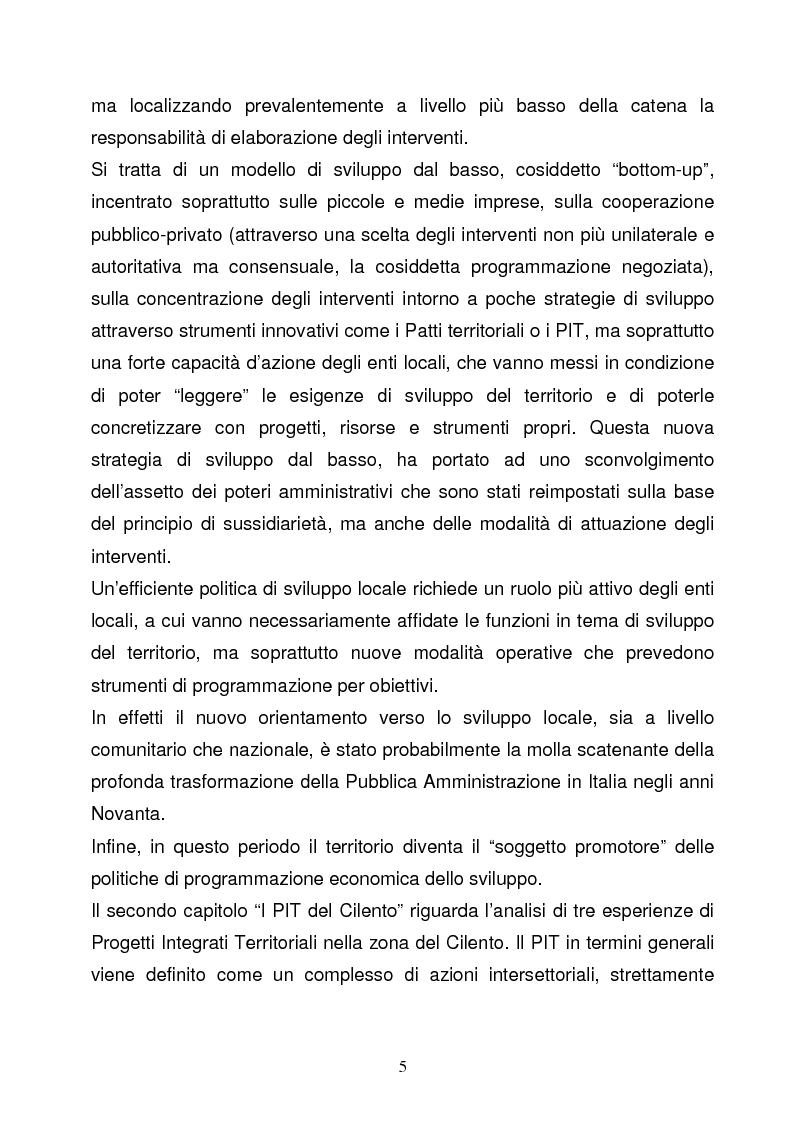 Anteprima della tesi: La Programmazione Territoriale: il caso del Cilento, Pagina 3
