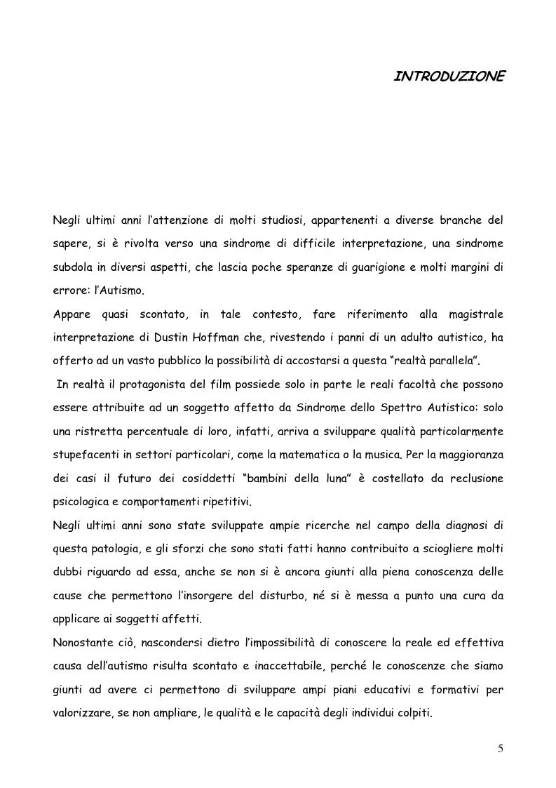 Anteprima della tesi: Bambini autistici inseriti nella scuola primaria: problemi e prospettive, Pagina 1