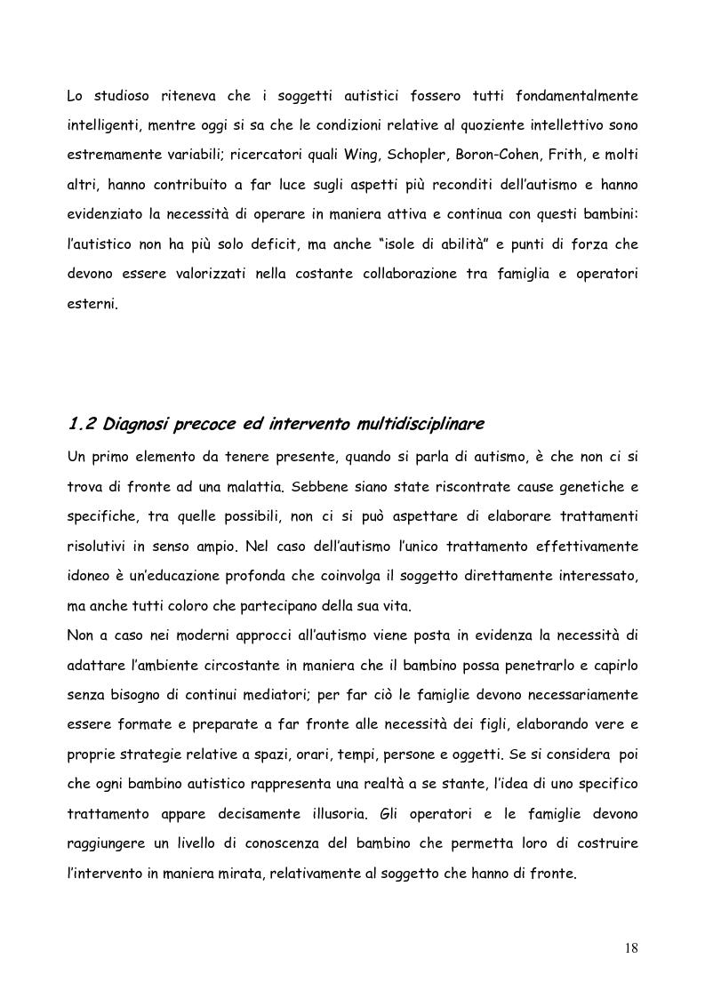 Anteprima della tesi: Bambini autistici inseriti nella scuola primaria: problemi e prospettive, Pagina 14