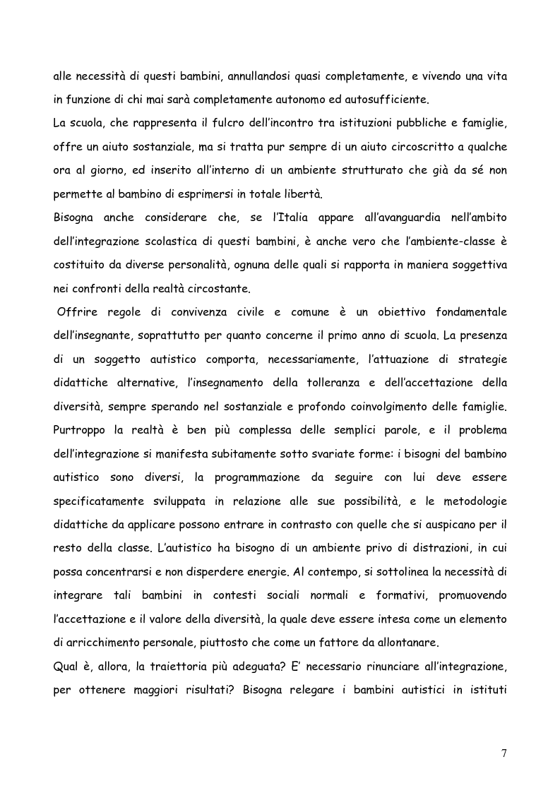 Anteprima della tesi: Bambini autistici inseriti nella scuola primaria: problemi e prospettive, Pagina 3