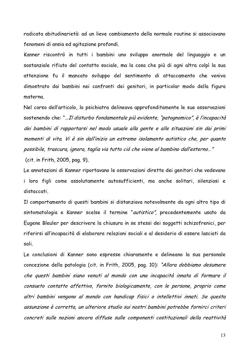 Anteprima della tesi: Bambini autistici inseriti nella scuola primaria: problemi e prospettive, Pagina 9