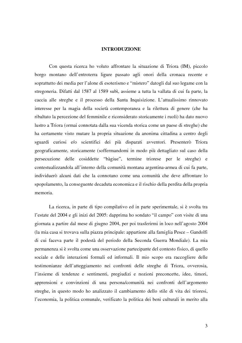 Anteprima della tesi: ''Triora e il Paese delle Streghe'' Vita e mutamenti di un borgo dell'estremo ponente ligure, Pagina 1