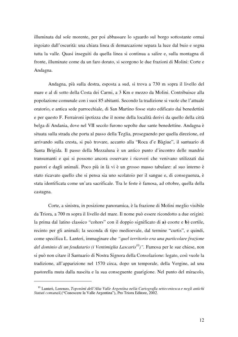 Anteprima della tesi: ''Triora e il Paese delle Streghe'' Vita e mutamenti di un borgo dell'estremo ponente ligure, Pagina 10