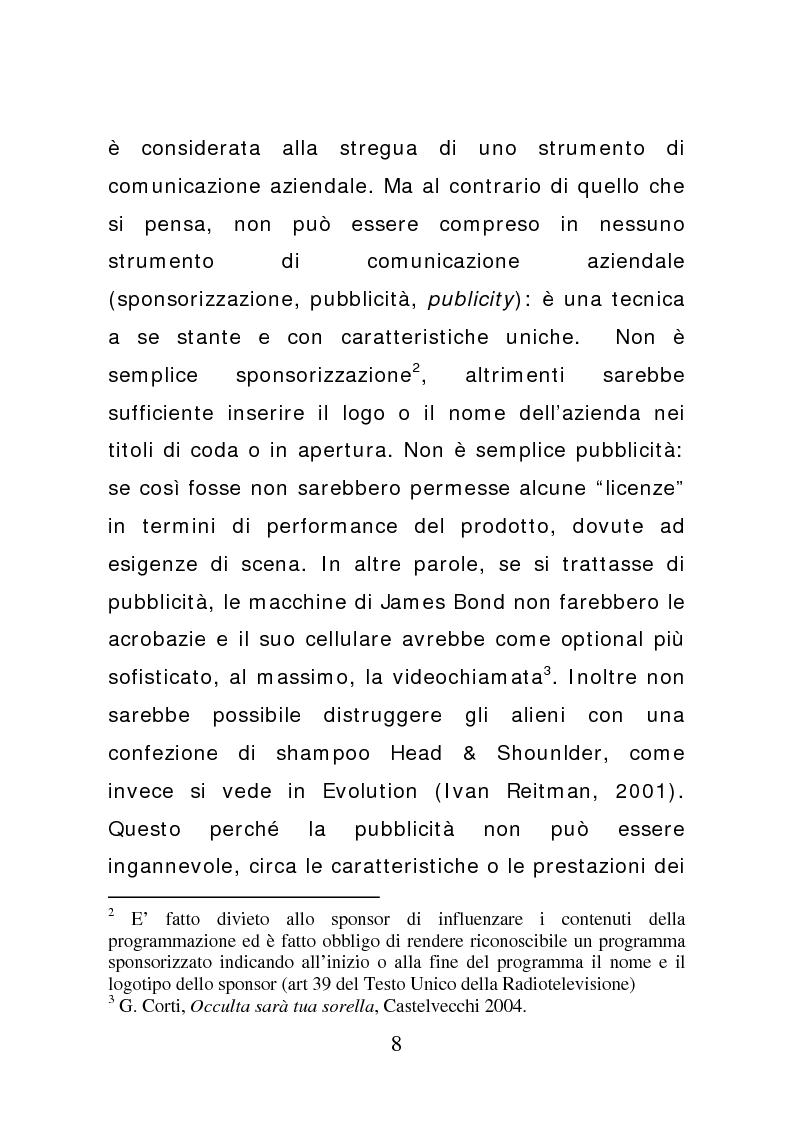 Anteprima della tesi: Ciak: il prodotto va in scena. Potenzialità e limiti del product placement, Pagina 3
