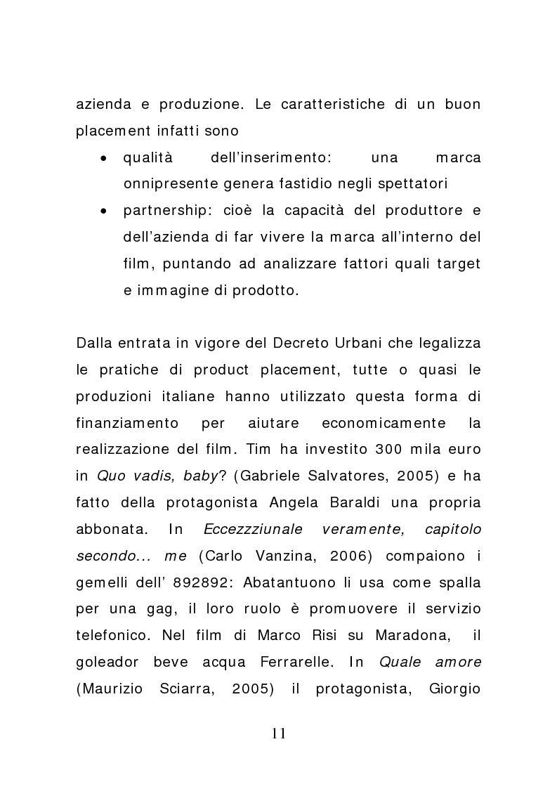 Anteprima della tesi: Ciak: il prodotto va in scena. Potenzialità e limiti del product placement, Pagina 6