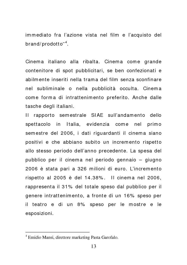 Anteprima della tesi: Ciak: il prodotto va in scena. Potenzialità e limiti del product placement, Pagina 8