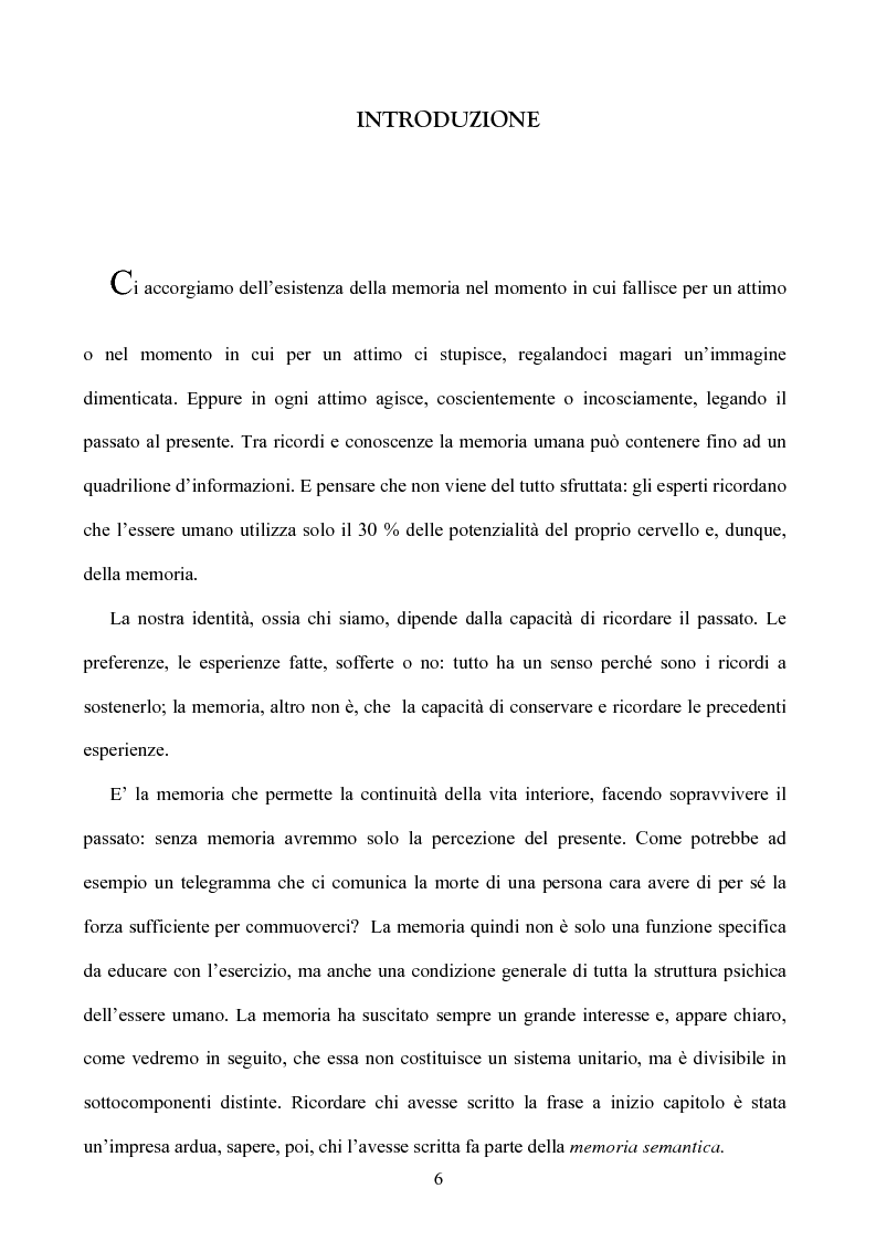 Anteprima della tesi: Memoria: solo virtù, o anche qualche vizio? (Ricerca Sperimentale), Pagina 1