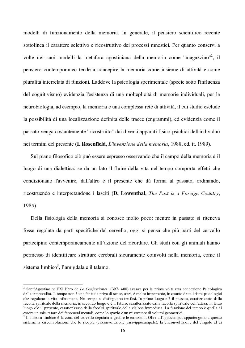 Anteprima della tesi: Memoria: solo virtù, o anche qualche vizio? (Ricerca Sperimentale), Pagina 11