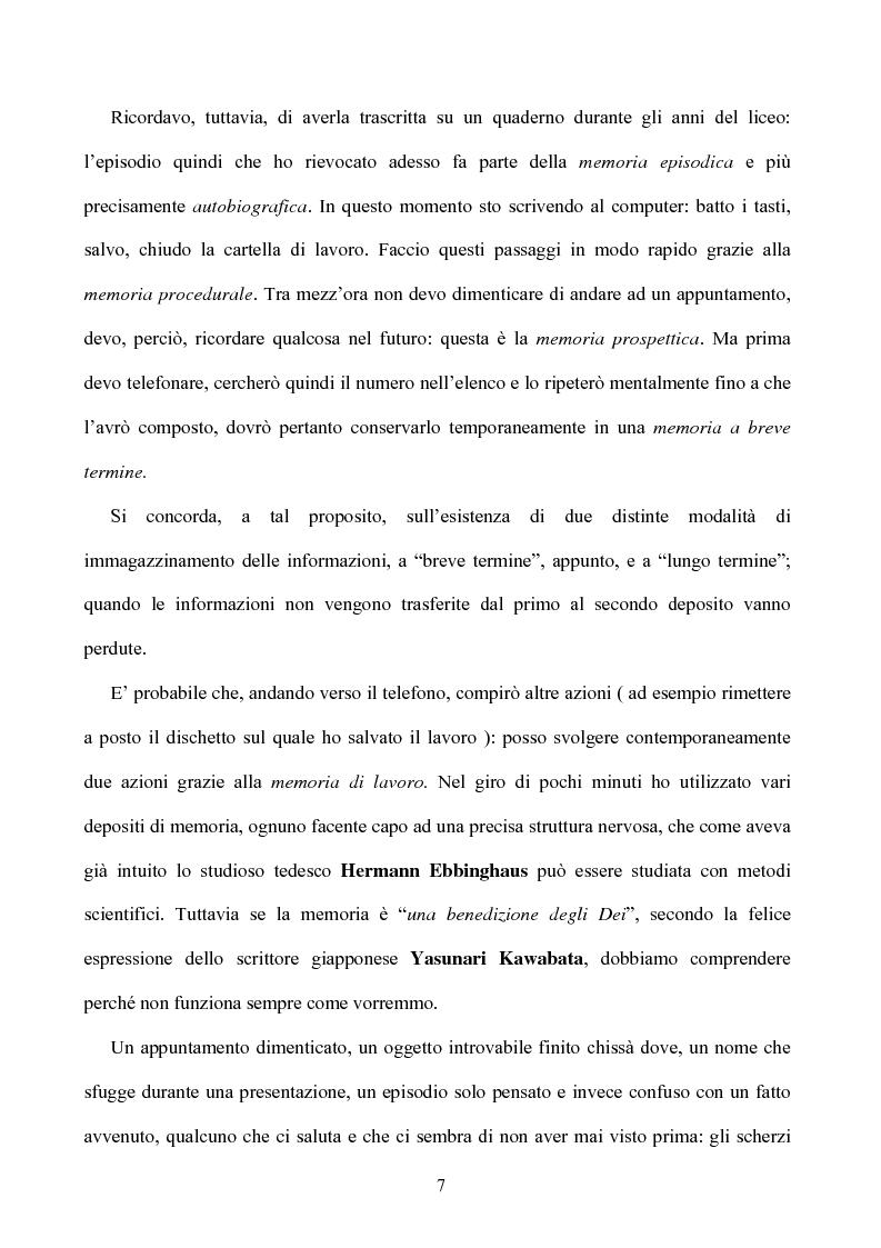 Anteprima della tesi: Memoria: solo virtù, o anche qualche vizio? (Ricerca Sperimentale), Pagina 2