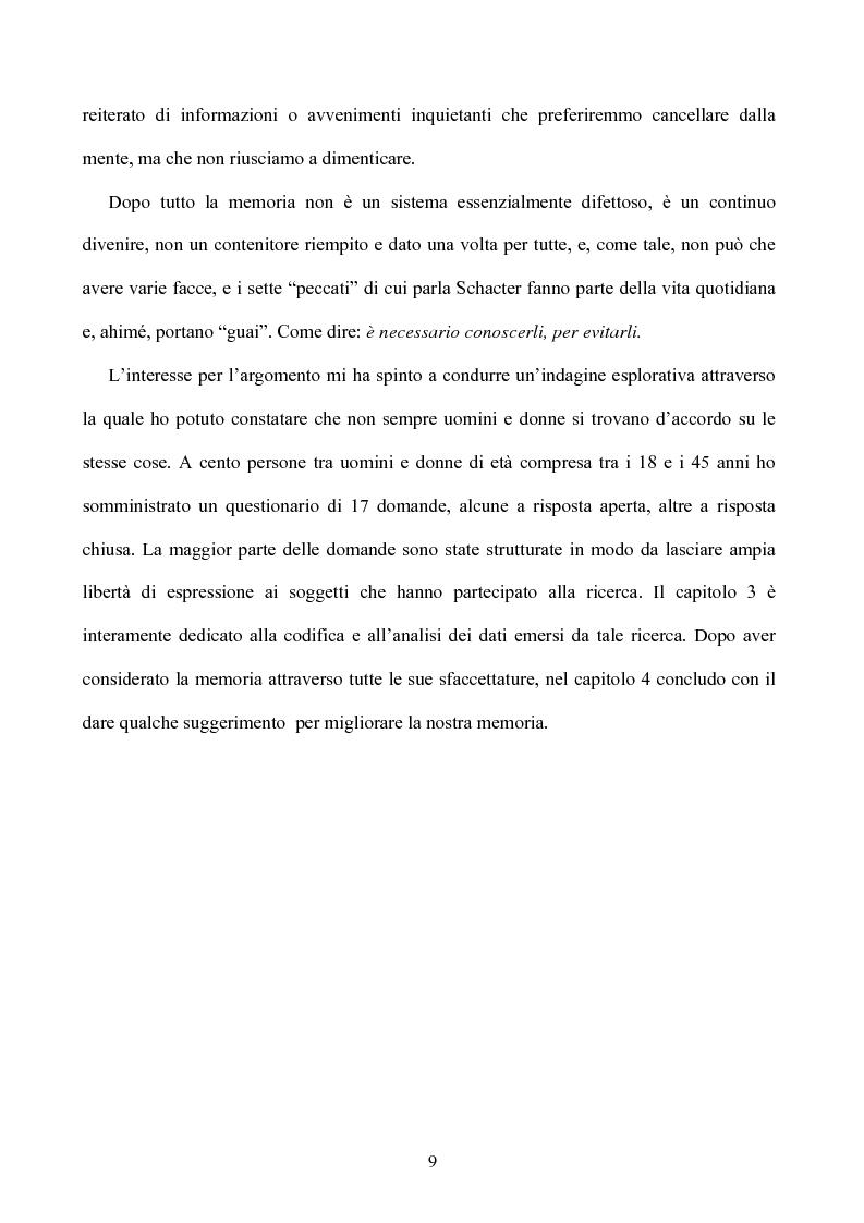 Anteprima della tesi: Memoria: solo virtù, o anche qualche vizio? (Ricerca Sperimentale), Pagina 4