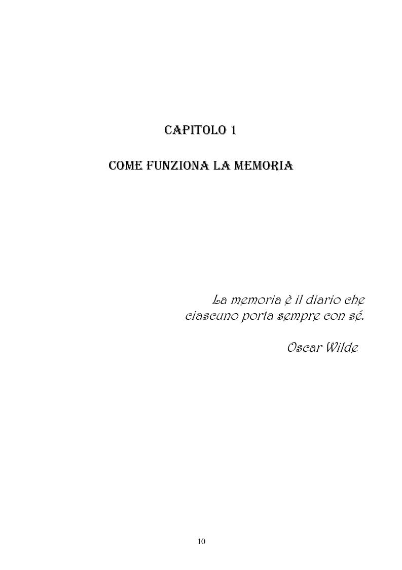 Anteprima della tesi: Memoria: solo virtù, o anche qualche vizio? (Ricerca Sperimentale), Pagina 5