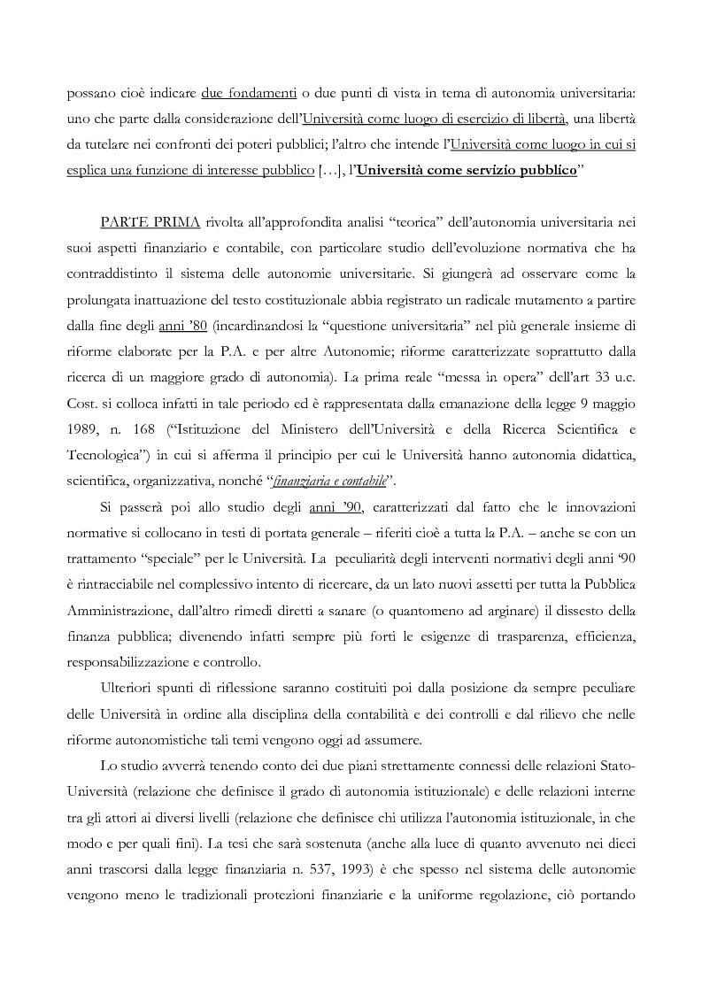 Anteprima della tesi: L'autonomia finanziaria e contabile delle Università. Un caso pratico: il Politecnico di Milano, Pagina 3