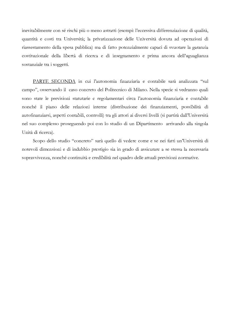 Anteprima della tesi: L'autonomia finanziaria e contabile delle Università. Un caso pratico: il Politecnico di Milano, Pagina 4