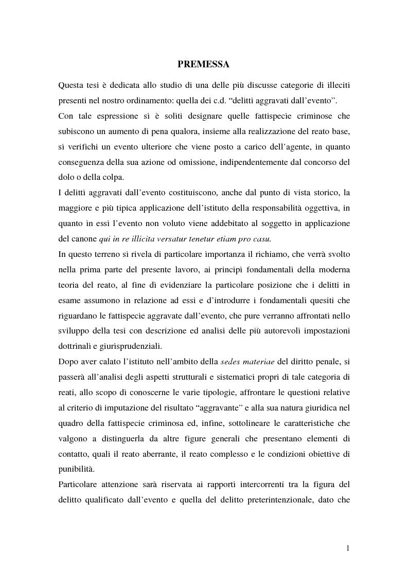 Anteprima della tesi: I delitti aggravati dall'evento, Pagina 1