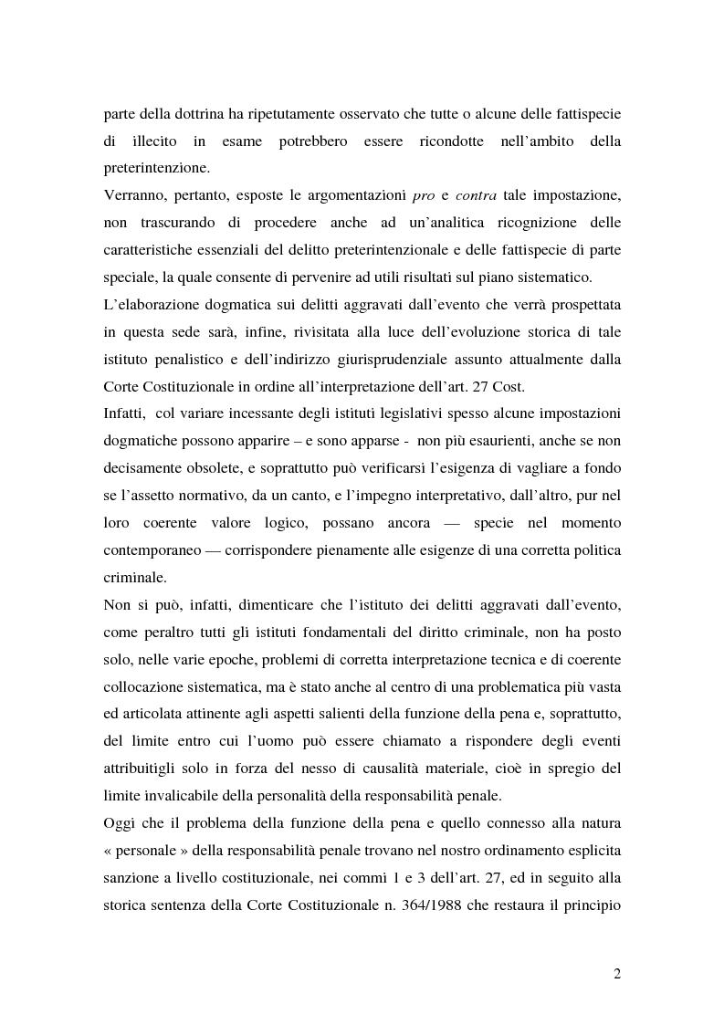 Anteprima della tesi: I delitti aggravati dall'evento, Pagina 2