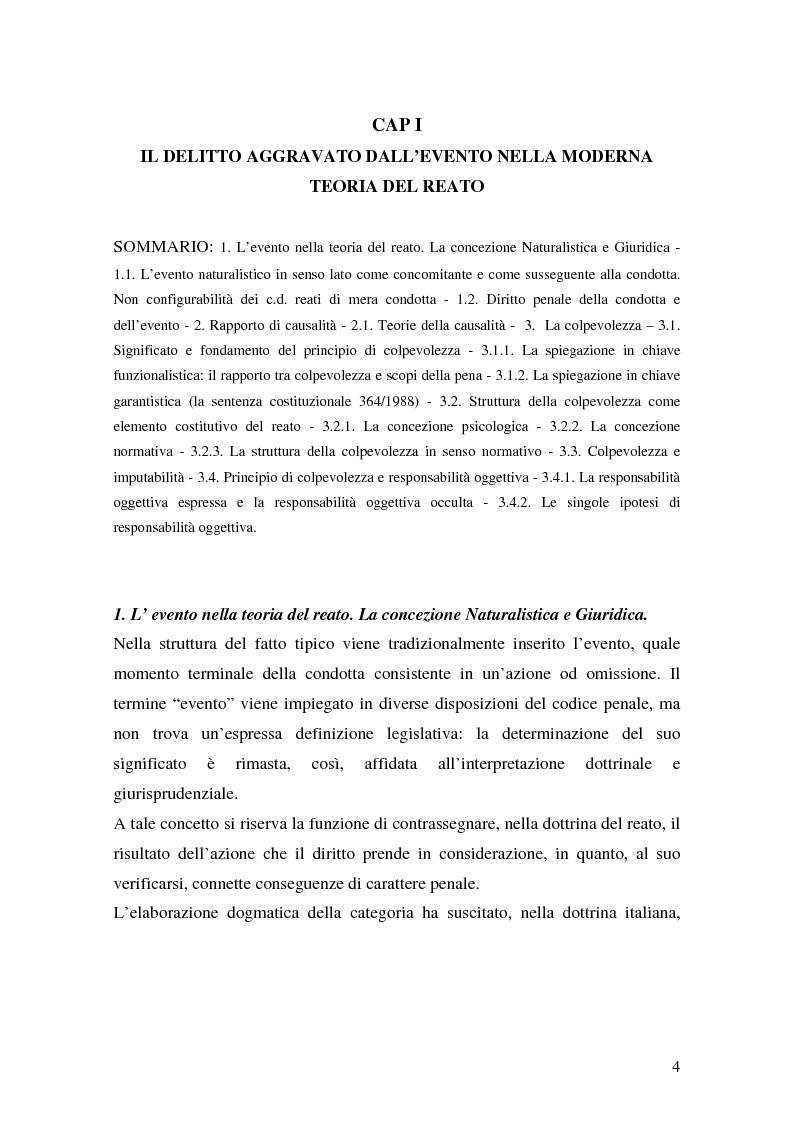 Anteprima della tesi: I delitti aggravati dall'evento, Pagina 4