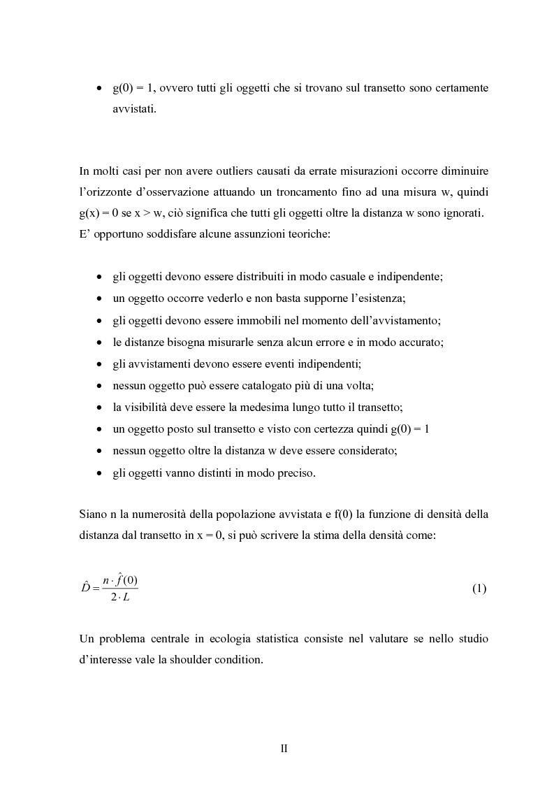 """Anteprima della tesi: Metodi """"Kernel"""" per la stima della densità di una popolazione biologica nel campionamento """"Line Transect"""", Pagina 2"""