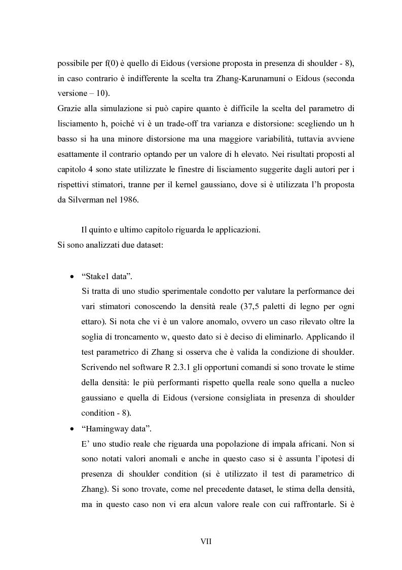 """Anteprima della tesi: Metodi """"Kernel"""" per la stima della densità di una popolazione biologica nel campionamento """"Line Transect"""", Pagina 7"""